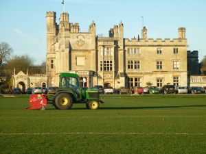 Ecosol Turfcare vertidraining at the Farleigh House training complex