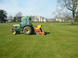 Canford School - over-seeding well underway in front of the imposing facade of the main school buildings - website